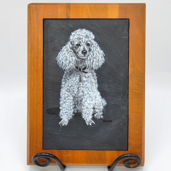 Poodle Dog Chalk Wall Art On Framed Slate Stone